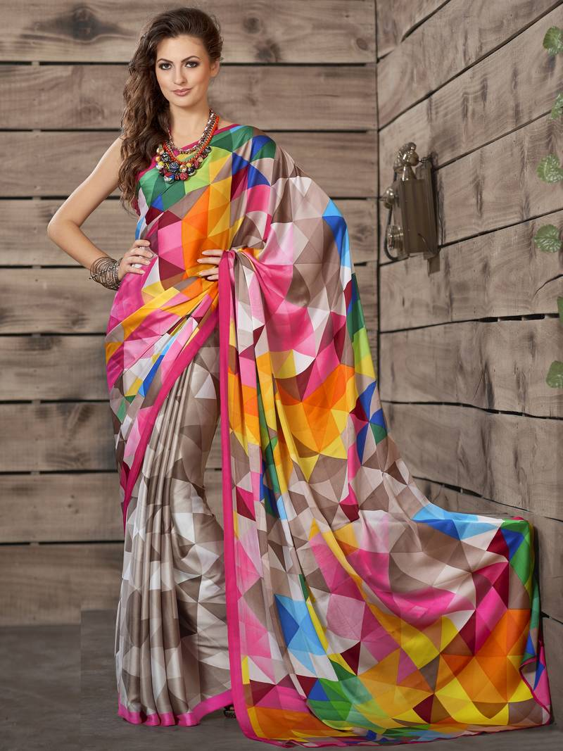 Buy Multicolor Printed Crepe Saree With Blouse Online