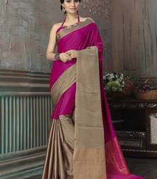 Buy Pink printed cotton silk saree with blouse south-indian-saree online