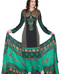 Buy Black embroidered faux crepe unstitched salwar with dupatta dress-material online