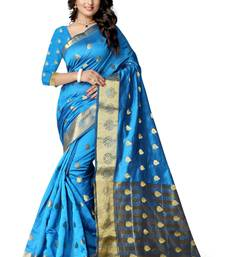 Buy Sky blue hand woven cotton silk saree with blouse tussar-silk-saree online