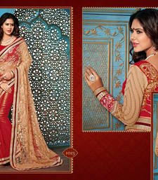 Buy chiku - red embroidered net saree with blouse bridal-saree online