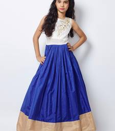 White and blue color taffeta silk fabric designer hand work kids wear shop online