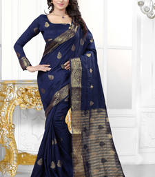 Buy Dark navy blue plain banarasi art silk saree banarasi-silk-saree online