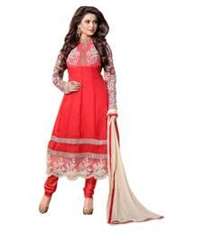 Buy Hypnotex Maroon Georgette Semi Stitch Dress Material Manisha1001 anarkali-salwar-kameez online