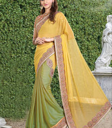Buy Yellow embroidered georgette saree with blouse one-minute-saree online