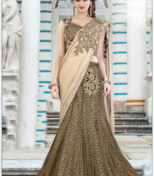 Buy Cream embroidered georgette saree with blouse one-minute-saree online