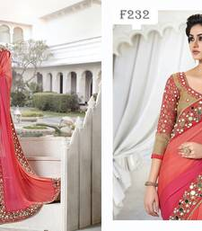 Pink embroidered georgette saree with blouse shop online
