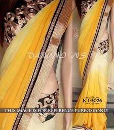 Buy Yellow embroidered georgette saree with blouse below-400 online