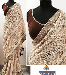 Buy Off white embroidered net saree with blouse party-wear-saree online
