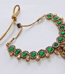 Buy Polki Kundan Stone Lakshmi - Green Necklace Set necklace-set online