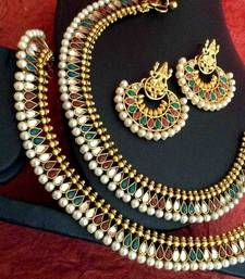 Buy India Ethnic Combo 48 : Maroon green pearl payal anklet & Ram Leela earring cb48 anklet online