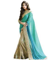 Buy Blue embroidered bemberg saree with blouse designer-embroidered-saree online