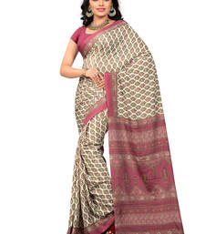 Buy Cream printed crepe saree with blouse crepe-saree online