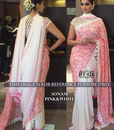 Buy White embroidered georgette saree with blouse sonakshi-sinha-saree online