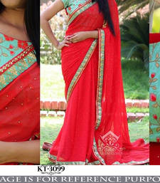 Buy Pink embroidered georgette saree with blouse south-indian-saree online