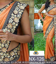 Buy Multicolor embroidered paper cotton saree with blouse south-indian-saree online