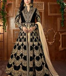 Buy Black embroidered art silk semi stitched salwar with dupatta abaya-suit online