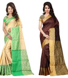 Buy Multicolor plain cotton silk saree with blouse cotton-saree online
