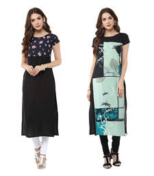 Buy Multicolor printed crepe kurtas-and-kurtis combo-kurti online