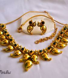 Buy Gold Plated Mango Design Traditional Necklace Set necklace-set online