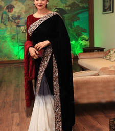 Buy Black embroidered georgette saree with blouse sridevi-saree online