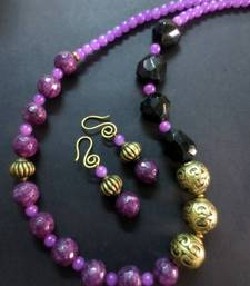 Buy Purple_Black_Agates_Antique_Set Necklace online