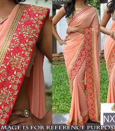 Buy Light pink embroidered georgette saree with blouse below-400 online