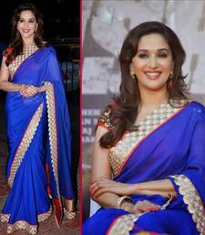 Buy Madhuri Dixit in Blue Saree with Red Bol madhuri-dixit-saree online
