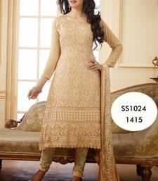 Buy Designer Anarkali salwar kameez - Beige suit anarkali-salwar-kameez online