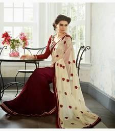 Buy Maroon Color Chiffon-Georgette Designer Saree.30708 georgette-saree online