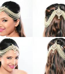 Buy Stylish Hair Designer Matha Patti For Wedding Gold Finishing with Pearl and Stone in White pakistani-jewellery online