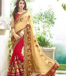 Buy Beige embroidered faux-georgette saree with blouse heavy-work-saree online