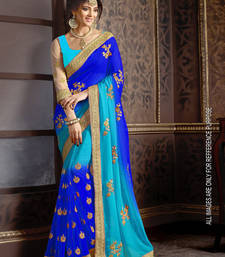 Buy Blue embroidered faux-georgette saree with blouse heavy-work-saree online