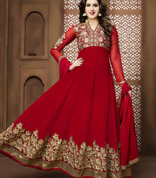 Buy Red embroidered georgette semi stitched salwar with dupatta wedding-salwar-kameez online