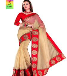 Buy SATI Beige And Red Coloured Chanderi With Zari Embroidered Borders cotton-saree online