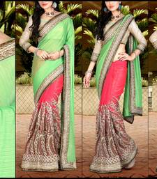 Buy Golden embroidered georgette saree with blouse bollywood-saree online
