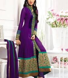 Buy Purple georgette embroidered semi stitched salwar with dupatta collar-neck-design online