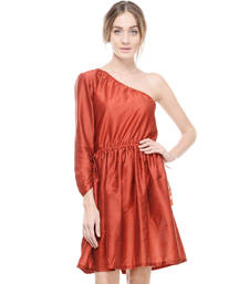 Buy Women's Designer Maroon Cotton Silk Gathered Dress dress online