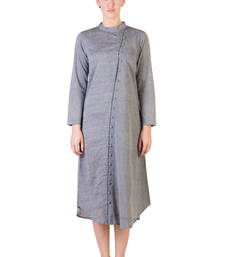 Buy Women's Designer Grey Tunic With Assymetrical Buttoning tunic online