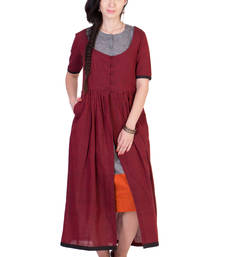 Buy Women's Designer Maroon Mangalgiri Tunic With Grey Inner tunic online
