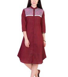 Buy Women's Designer Maroon Mangalgiri Tunic With A Printed Yoke tunic online