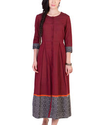 Buy Women's Designer Maroon Mangalgiri Pleated Midi With Block Printed Grey Border dress online