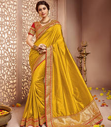 Buy Dark gold embroidery silk saree with blouse silk-saree online