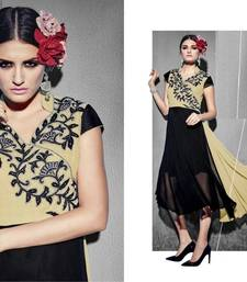 Buy Black embroidered georgette party-wear-kurtis party-wear-kurti online