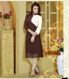 Buy Brown embroidered georgette party-wear-kurtis party-wear-kurti online