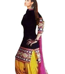 Buy Black cotton embroidered semi stitiched salwar with dupatta patiala-salwar online