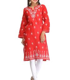 Buy Red embroidered cotton kurtas-and-kurtis chikankari-kurti online
