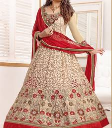 Buy Beige embroidered Brasso semi stitched salwar with dupatta semi-stitched-salwar-suit online