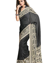 Buy Fabdeal Black Colored Jute Silk Printed Saree jute-saree online