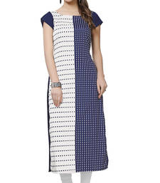 Buy Women's Blue Color Digital Print Crepe Kurti long-kurti online
